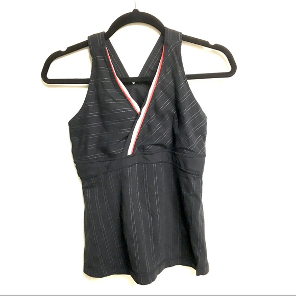 Lululemon Deep V Athletic Tank Black Pinstripe 10